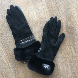 UGG Black Leather Gloves with Fur